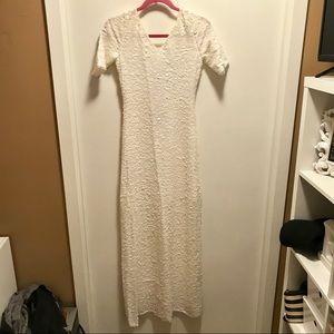 BCBGMAXAZRIA White Sequin Floor Length Dress Small